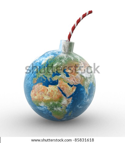 3d earth globe in shape of a bomb. 3d render illustration - stock photo