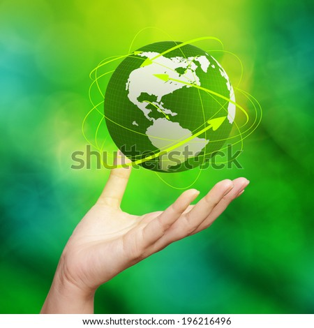3d earth globe network in her hands  - stock photo