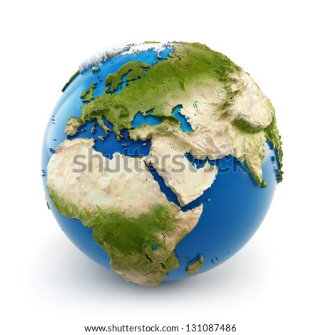 3d earth globe with embossed continents isolated on white background. Elements of this image furnished by NASA - stock photo