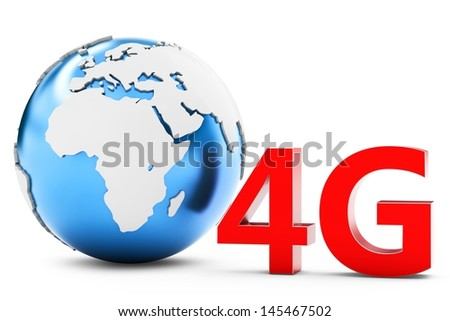 3d earth globe with 4G mobile symbol on white background