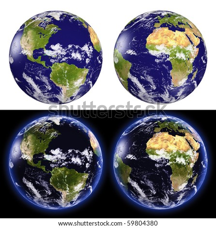 3d earth globe with shaded relief and  clouds cover, set  on white and black background