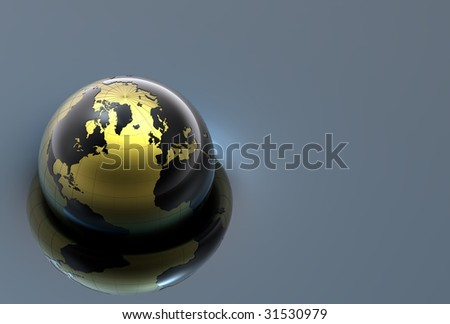 3d earth on reflective surface - stock photo