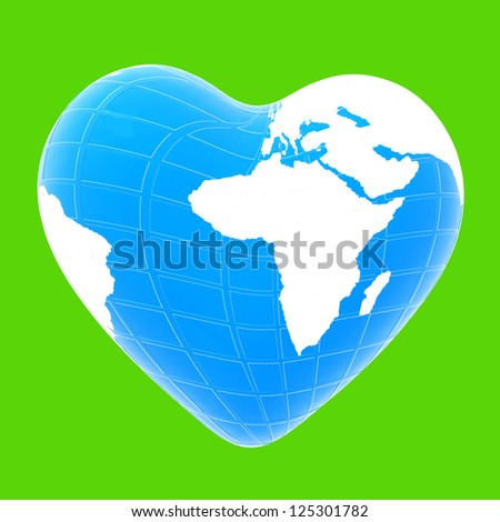 3d earth to heart symbol