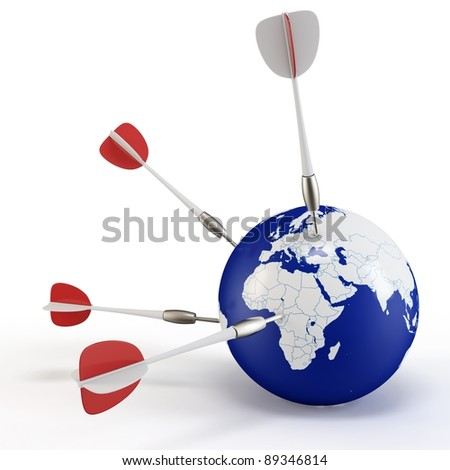 3d earth with darts on white background