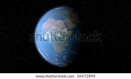 3D earth with the view of Europe and Africa - stock photo