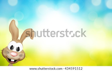 3D easter bunny defocused blurred bokeh shiny highlight background - stock photo