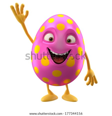 3D easter character, cheerful cartoon, amusing egg isolated on white background