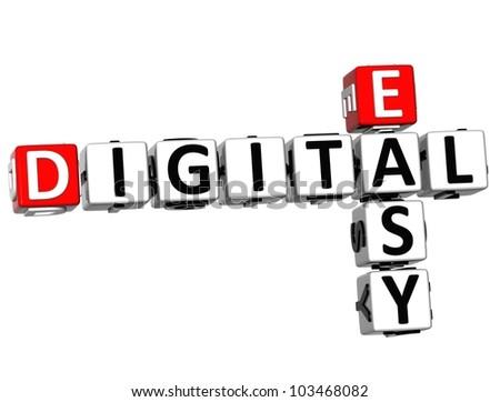 3D Easy Digital Crossword on white background - stock photo