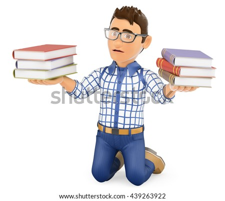 3d education people illustration. Young student punished holding books. Isolated white background. - stock photo