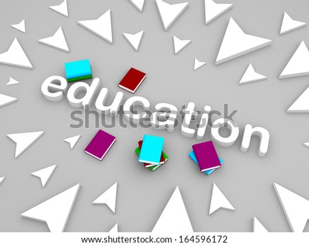 3d education text surrounding by arrow with some books - stock photo