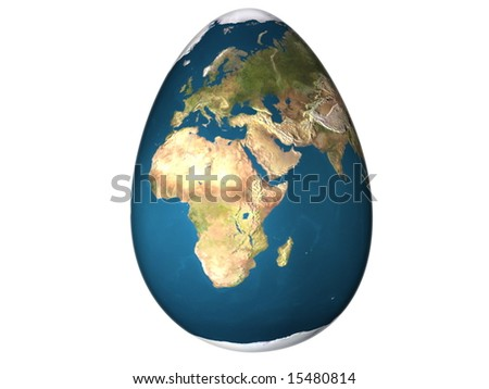 3d egg with earth texture over white background isolated