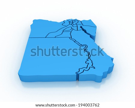 3d Egypt administrative map - stock photo