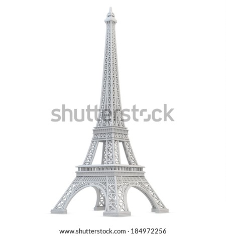 3d Eiffel Tower metallic on a white background  - stock photo