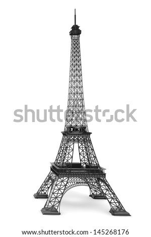 3d Eiffel tower on a white background - stock photo