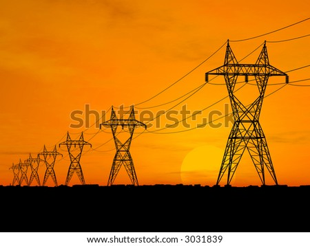 3D Electric power lines over sunrise - stock photo