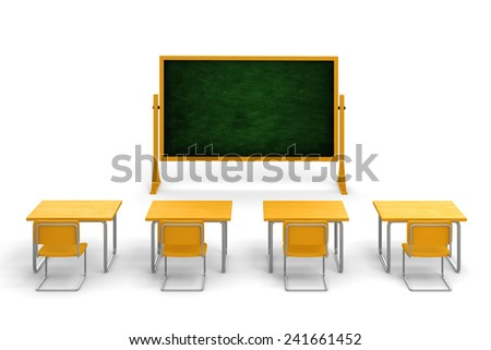 3d empty classroom on white background - stock photo