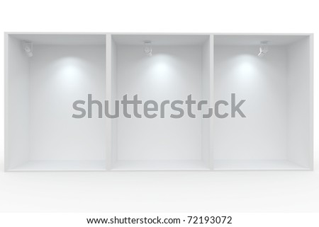 3d Empty display for exhibit isolated on white