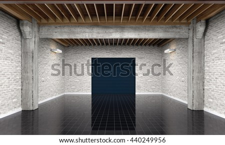 3d empty garage with metallic roller shutter door on white background 3D illustration - stock photo