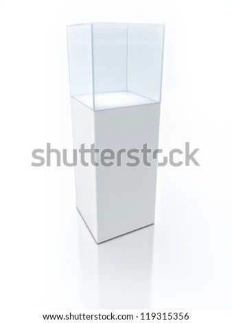3D  Empty glass box for exhibit - stock photo