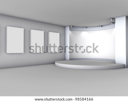 3d empty niche with boxes and spotlights for exhibit in the grey interior - stock photo