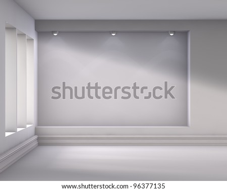 3d empty niche with spotlights for exhibit in the bright interior - stock photo