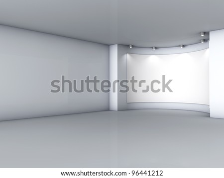 3d empty niche with spotlights for exhibit in the grey interior - stock photo