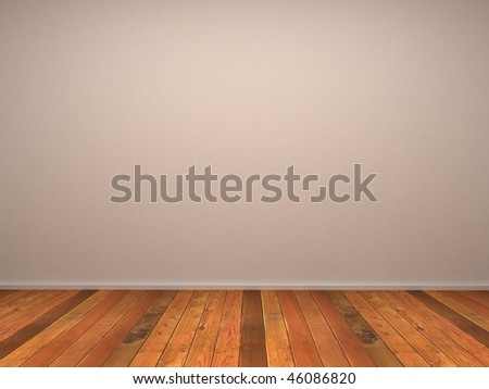 3d empty room's wall with wood parquet - stock photo