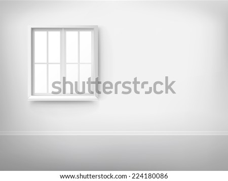 3d empty room with window over the wall - stock photo