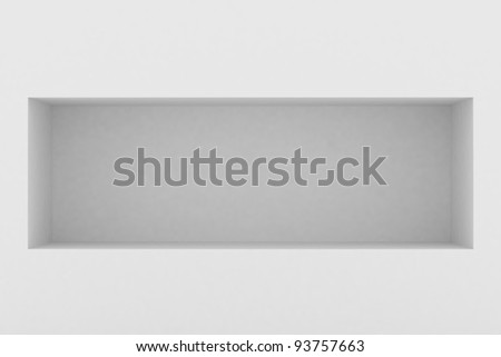 3d Empty shelf for exhibit in the wall - stock photo
