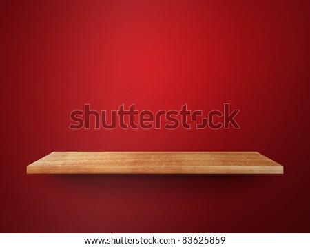 3D empty shelf on wall - stock photo