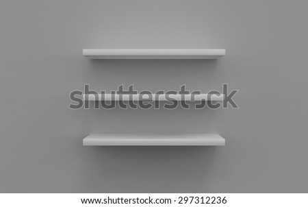 3d Empty shelves for exhibition isolated on white background - stock photo