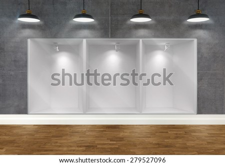 3d empty storefront of shop with ceiling lamps