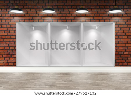3d empty storefront of shop with ceiling lamps - stock photo
