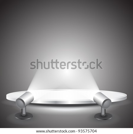 3d Empty white podium with light, illustration