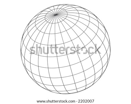 3D empty wired sphere (isolated with clipping-path)