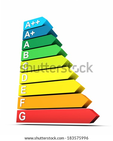 3D energy efficiency chart isolated 1