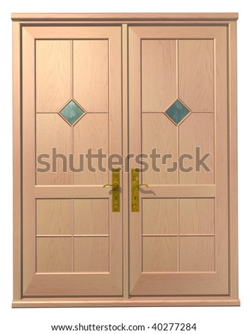 3d entrance door on the plain background