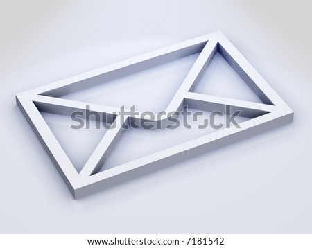 3D Envelope Icon on Slightly Reflective White Surface - stock photo