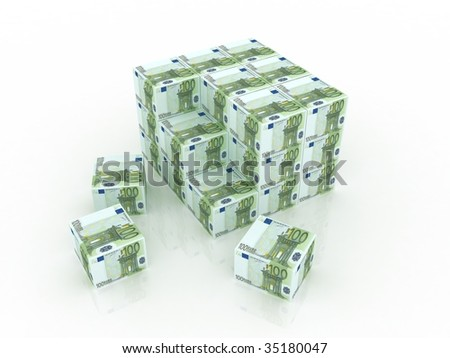 3d euro boxes in pile against a white background - stock photo