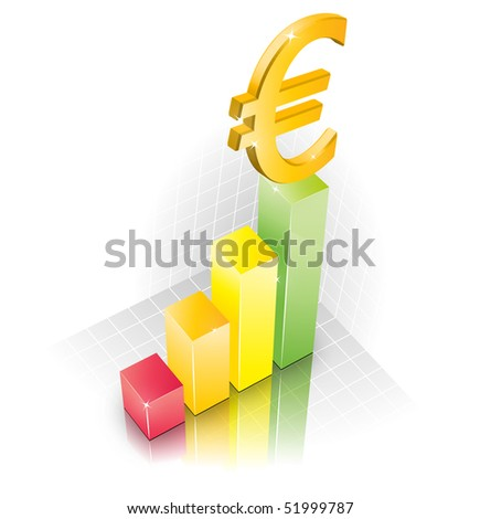 3D Euro Chart illustration width reflection - stock photo