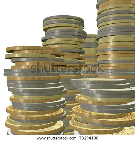 3d euro coin on white background