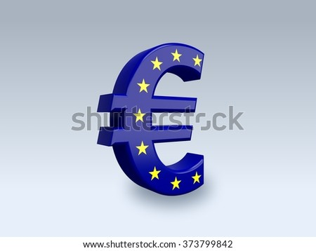 3D euro sign (EUR) isolated on white background. The icon is covered with a flag of Europe Union. - stock photo