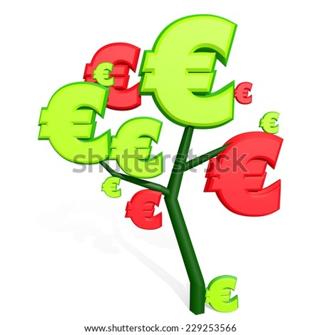 3d euro sign isolated on white on a tree