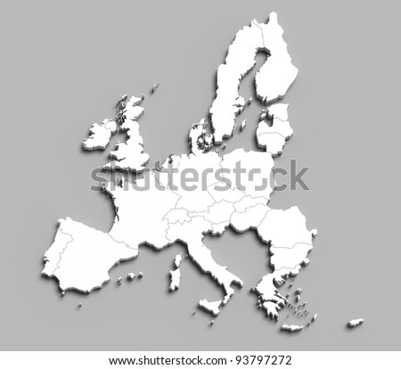3d european union white map on grey isolated - stock photo
