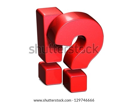 3D Exclamation And Question Mark Red Sign on white background - stock photo