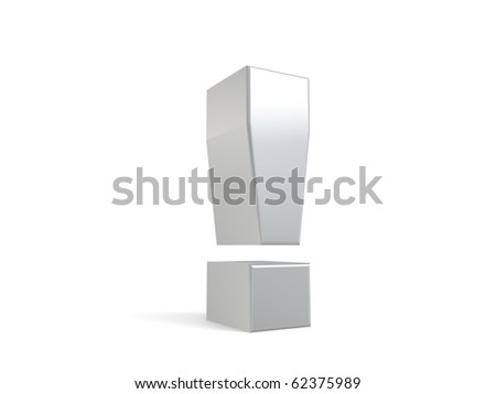 3d exclamation mark from my metal collection - stock photo