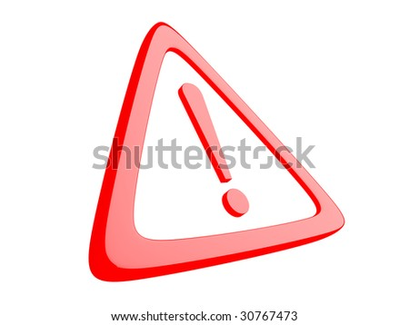 3D exclamation sign on a white background - stock photo