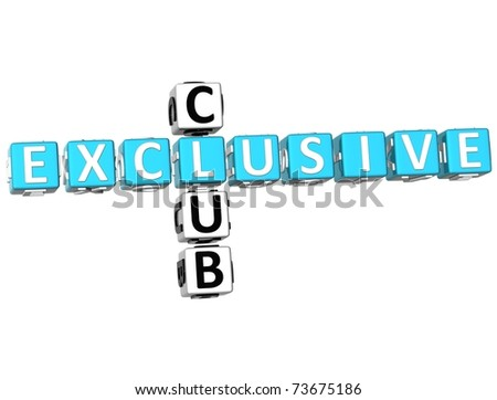3D Exclusive Club Crossword on white background