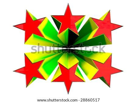 3D exploding stars - stock photo