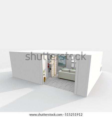 3d exterior rendering of white cube shaped home apartment with open door